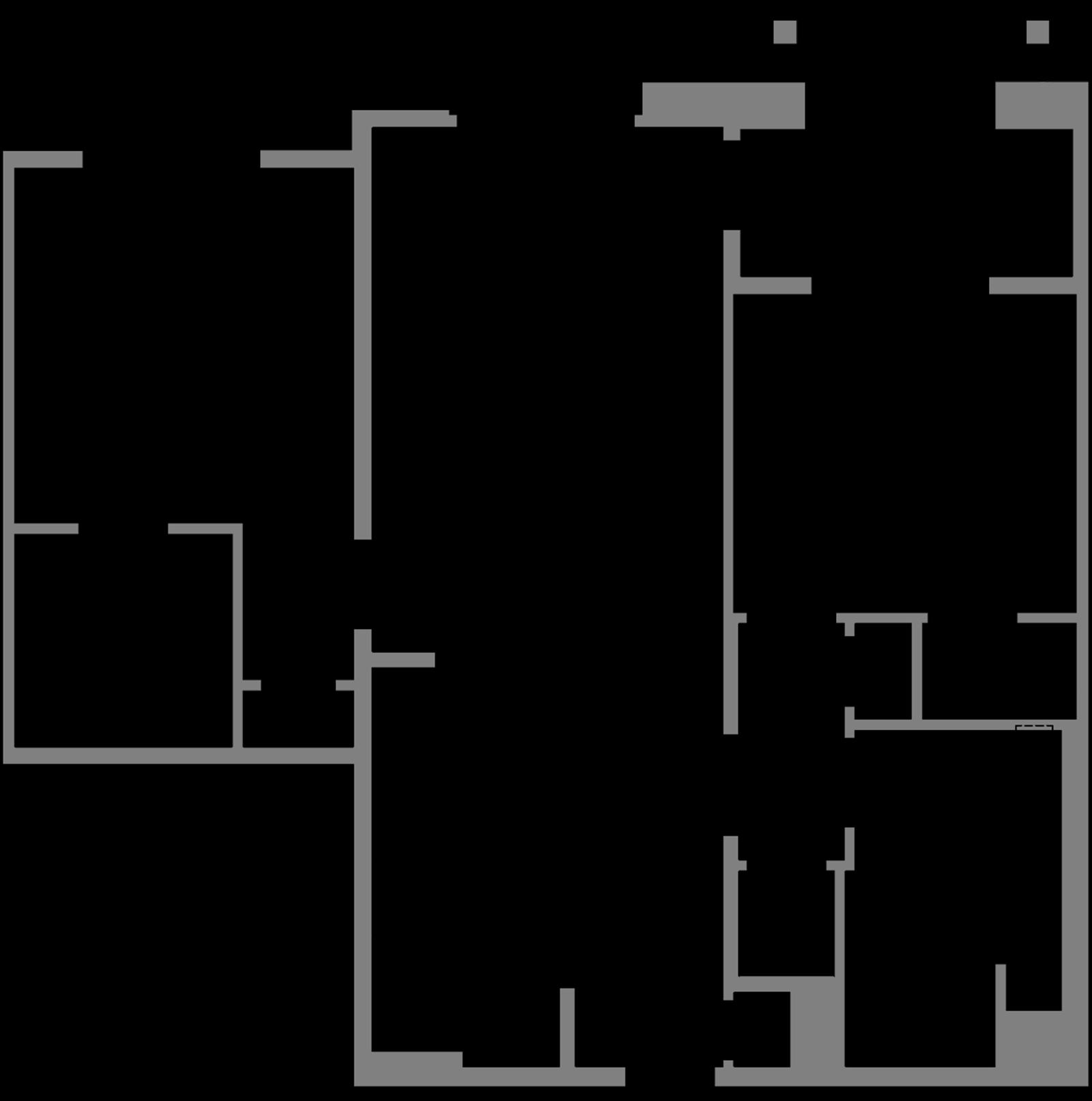 Plan B6 - 2 Bedroom, 1 Bath Floor Plan