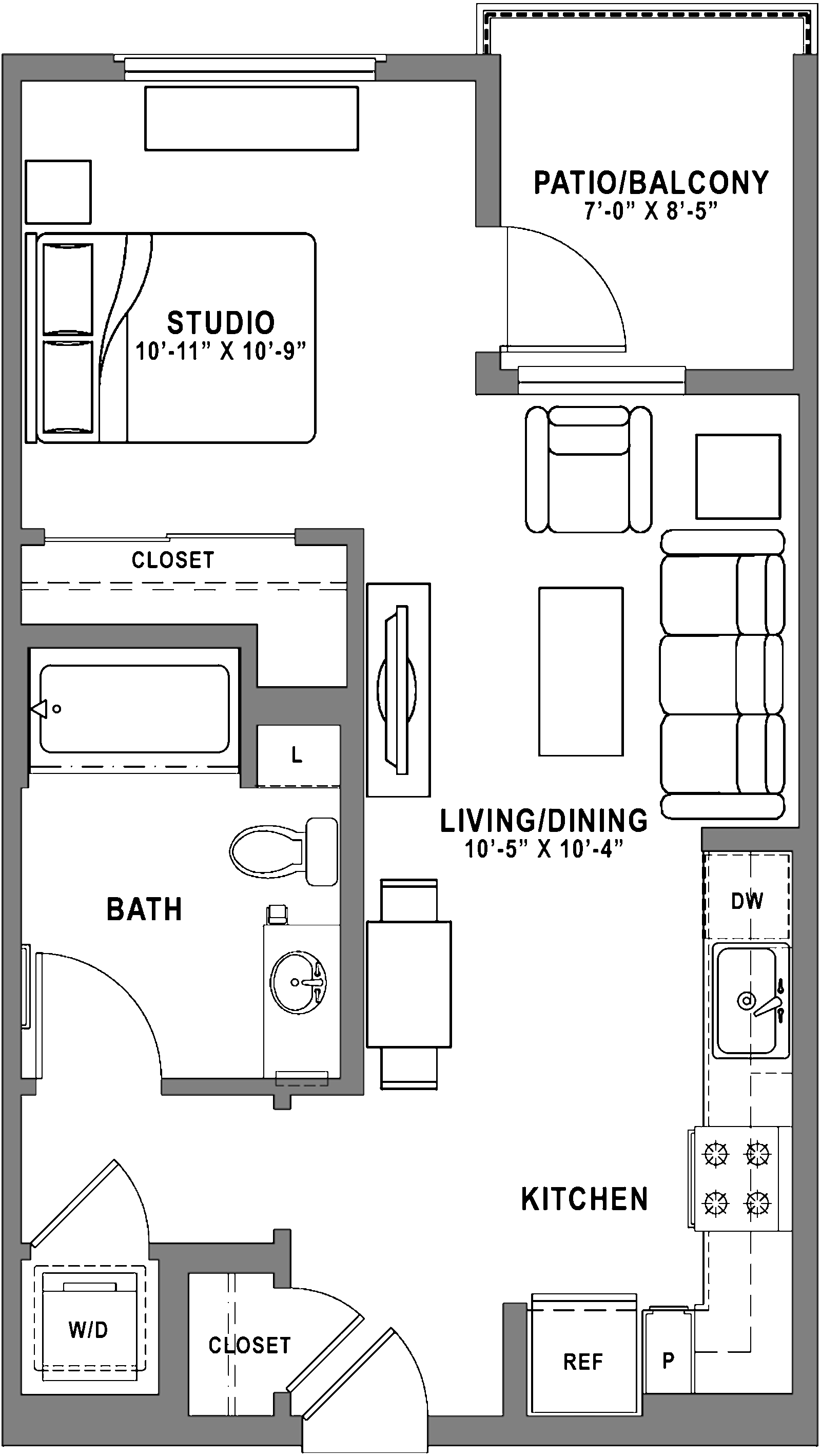 Plan S1 - Studio, 1 Bath Floor Plan