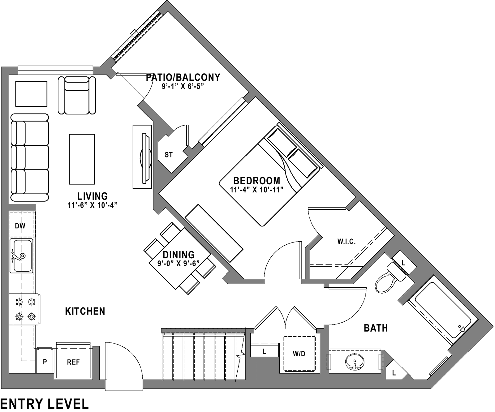 Plan A1 Loft - 1 Bedroom+ Loft, 1 Bath Floor Plan