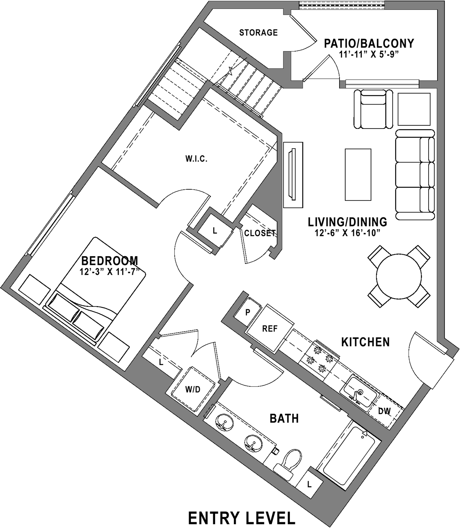 Plan A2 Loft - 1 Bedroom+ Loft, 1 Bath Floor Plan