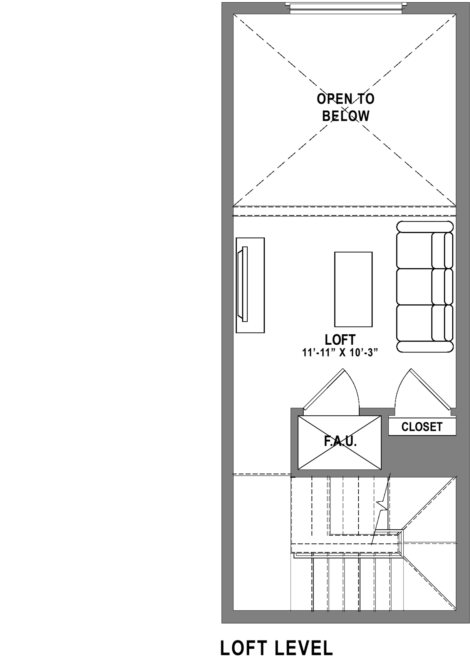 Plan A3 Loft - 1 Bedroom+ Loft, 1 Bath Floor Plan