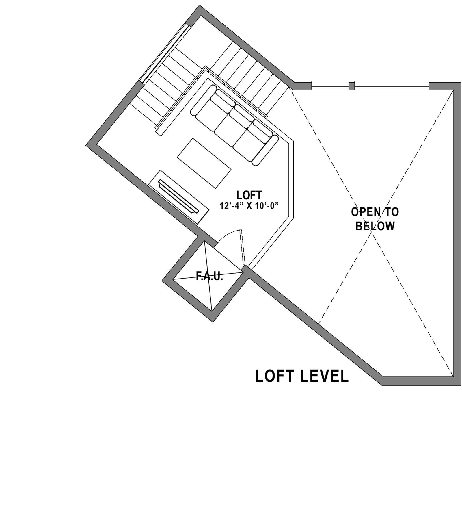 Plan A4 Loft - 1 Bedroom+ Loft, 1 Bath Floor Plan