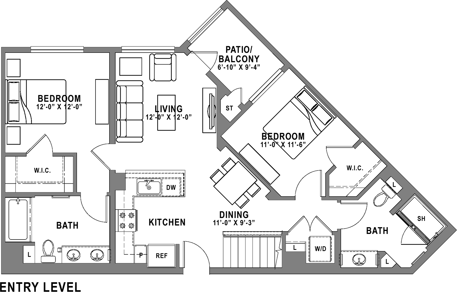 Plan B1 Loft - 2 Bedroom+ Loft, 3 Bath Floor Plan