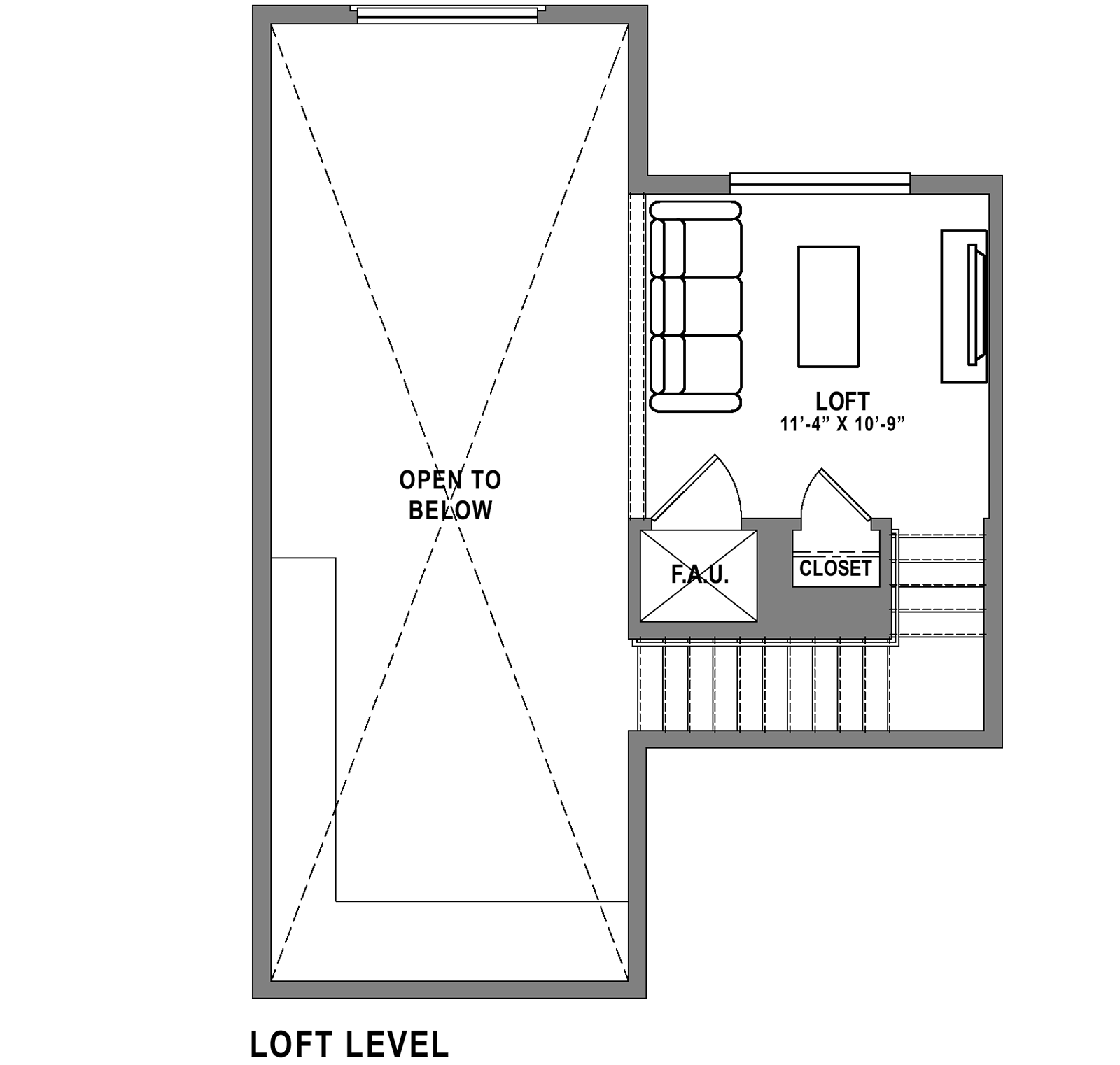 Plan B2 Loft - 2 Bedroom+ Loft, 2 Bath Floor Plan