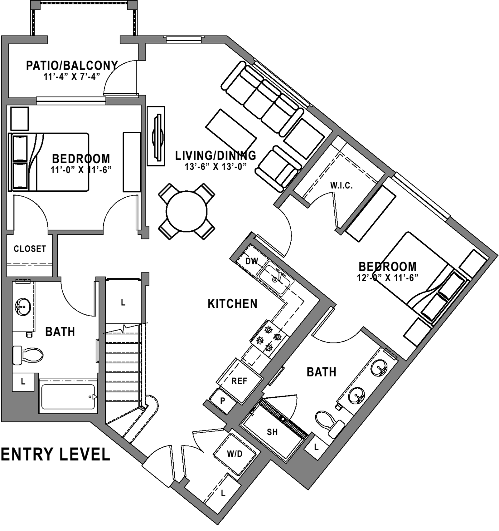 Plan B3 Loft - 2 Bedroom+ Loft, 2 Bath Floor Plan