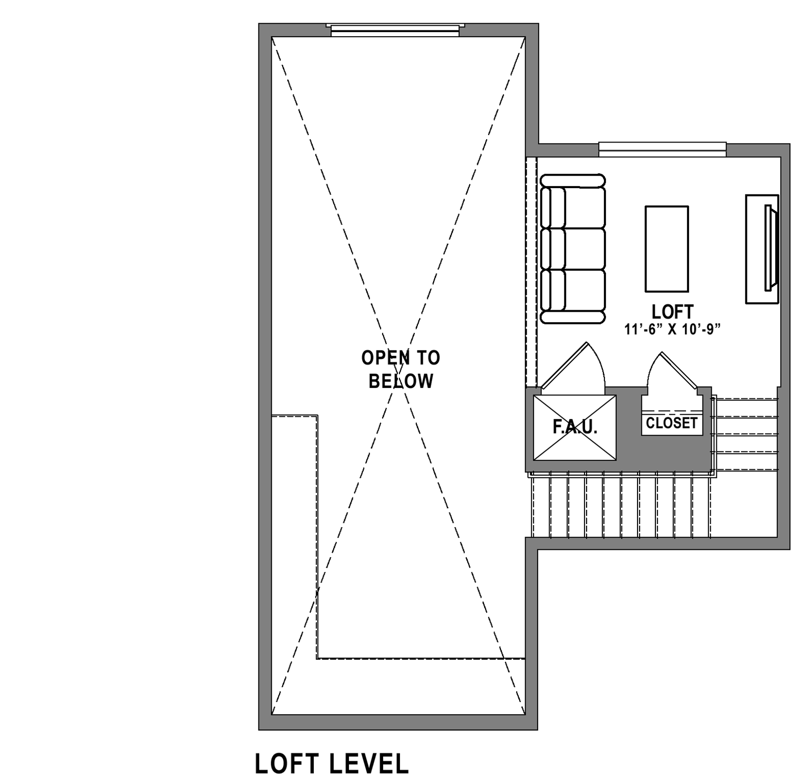 Plan B5 Loft - 2 Bedroom+ Loft, 2 Bath Floor Plan