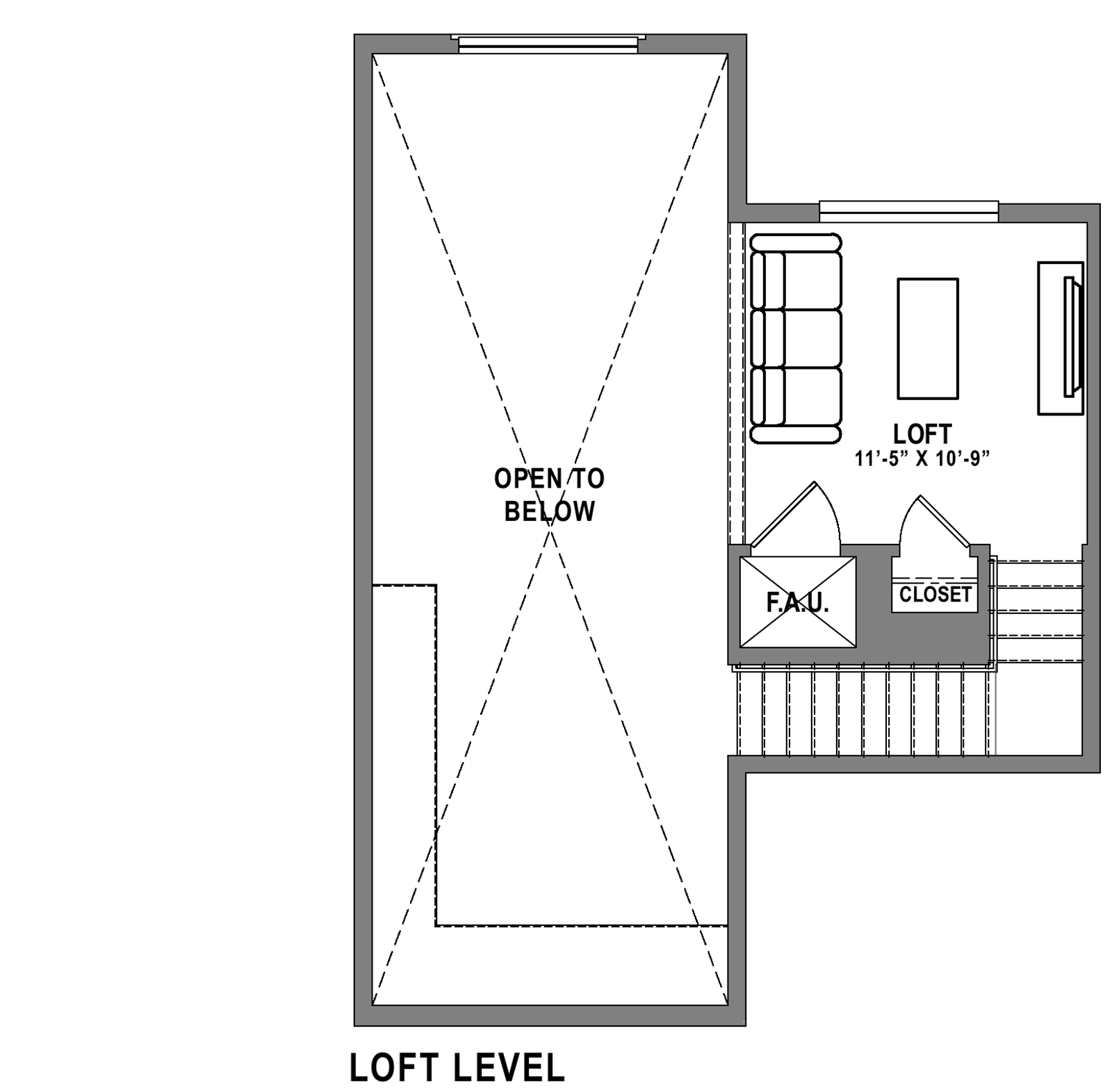Plan B6 Loft - 2 Bedroom+ Loft, 2 Bath Floor Plan