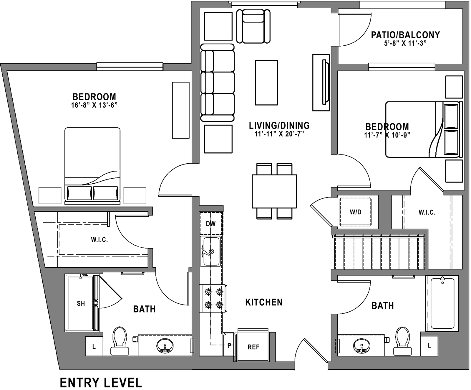 Plan B7 Loft - 2 Bedroom+ Loft, 2 Bath Floor Plan