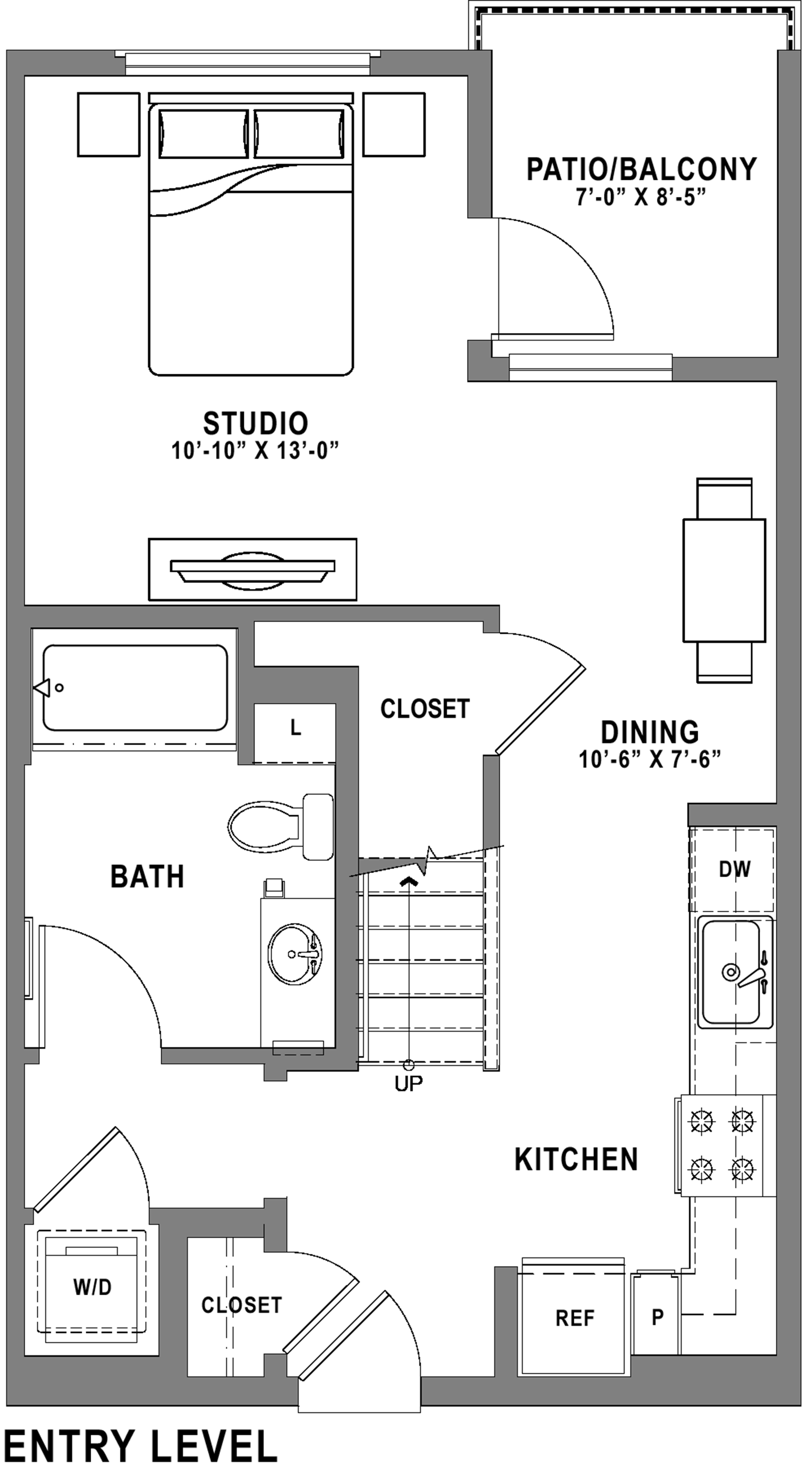 Plan S1 Loft - Studio+ Loft, 1 Bath Floor Plan
